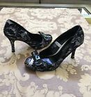 Hollywould Black Silver Lace Metallic Stiletto High Heels with Bow, Size 7.5