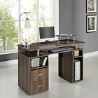 Computer Desk PC Laptop Writing Table Storage Drawers Home Office Black Walnut