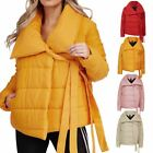 Ladies Puffer Jacket Womens Padded Baggy Oversized Collar Tie Detail Coat Top
