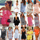 Womens Holiday Mini Playsuit Clubwear Ladies Jumpsuit Romper Summer Beach Dress