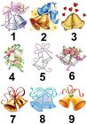 Wedding Bells Large Sticky White Paper Stickers Labels NEW