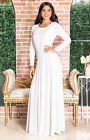 KOH KOH Long Sleeve Flowy Empire Waist Winter Fall Modest Maxi Dress Gown Abaya
