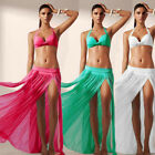 US Women Sheer Mesh Bikini Cover Up Beach Sarong Swimwear Pareo Long Dress Skirt