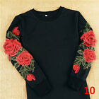 Women Charming Sleeve Floral Pullover Long Tops Blouse Casual T Shirt Mini Dress