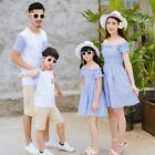 Summer Family Clothing Set Mom And Daughter Striped Dress Dad And Son T-shirt