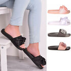 Ladies Women Bow Jewel Slip On Summer Sliders Beach Holiday Mules Shoes Size 3-8