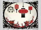 Japanese Lanterns and Sakura Tapestry Wall Hanging for Living Room Dorm Decor