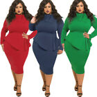 Elegant Casual Bodycon Pencil Dress Long Sleeve Evening Party Dress Plus Size