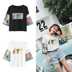 Fashion Letter Printed T-Shirt Short Sleeve Basic Tee Top Summer Women Girls 1pc