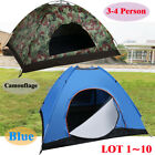 3-4 Person Outdoor Camping Waterproof Folding Hiking Tent Camouflage/Blue LOT MX