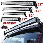 "Quad Row 22""/32""/42""/50""/52""Inch 4"" 18W LED Light Bar SPOT FLOOD Offroad 4WD ATV"