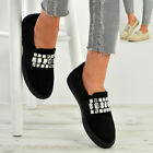 New Womens Ladies Rhinestone Diamante Studded Slip On Sneakers Trainers Shoes