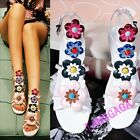 Fashion Womens Flowers Casual Sandal Flat Buckle Leather Breathable Floral Shoes