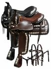 """Double T 16"""",  17"""" parade saddle with matching headstall and breast collar."""