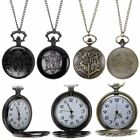 2018 Harry Potter HOGWARTS Golden Bronze Black Pendant POCKET WATCH Necklace
