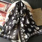 "100% Pure Mulberry Silk Women Large Long Special Scarf Shawl Skull 69""*26"""