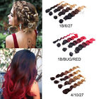 black hair with ombre red - Three-Tone Ombre Blonde or Red Loose Wave Weft Hair with Top Closure Hair Pieces