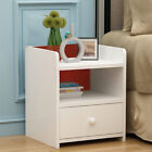 Morden Chic White Wood Bedside Tables Night Cabinets With 2 Storage Drawers Unit