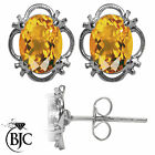 BJC® 925 Sterling Silver Natural Citrine Single Stud Earrings Studs 1.50ct