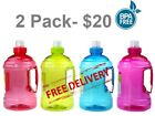 2 PACK - 2 LITRE 2L  WATER BOTTLE DRINK WITH HANDLE BPA FREE - FREE POSTAGE