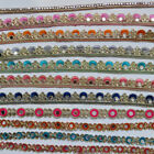 Glass Mirror Bead1ft Trimming Gold Lace Cut Work Trim Ribbon Craft Saree Border