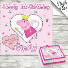 PEPPA PIG SQUARE EDIBLE BIRTHDAY CAKE TOPPER DECORATION PERSONALISED