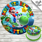 SUPER MARIO BROTHERS ROUND EDIBLE BIRTHDAY CAKE TOPPER DECORATION PERSONALISED