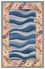 "AREA RUGS - ""SANDALS & SEASHELLS"" HAND HOOKED WOOL RUG - NAUTICAL DECOR"