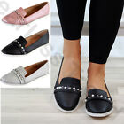 New Womens Pearl Slip On Plimsoll Comfy Ballerinas Casual Flat Pumps Shoes Size