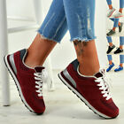 New Womens Ladies Running Gym Lace Up Fashion Sneakers Trainers Shoes Size Uk