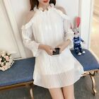 Women Party Top 2018 Autumn Fashion Pleated Off Shoulder Lantern Sleeves Top