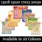Large Hearts Organza Gift Wedding Favour Bag Jewellery Pouch 10 Colour & 4 Sizes