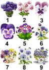 Pansies Flower Small or Large Sticky White Paper Stickers Labels NEW