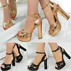Rose Gold Black Womens Ladies Block High Heel Platforms Sandals Party Sexy Size