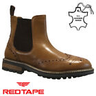 MENS RED TAPE LEATHER CHELSEA BROGUE BOOTS ANKLE DEALER FORMAL SMART WORK SHOES