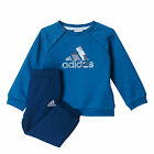 adidas Sport Logo Jogger Infant Kids Jumper Trouser Tracksuit Set Blue
