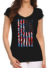 Junior's Tie Dye American Flag Black V Neck T Shirt Proud USA July 4th Patriotic