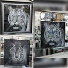 Tiger pictures with shimmer, crystals, liquid art & mirror/black frame.