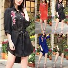 Oversized Woman Dress Long Sleeve Embroidery Floral Belt Shirt Dress Tunic Robes