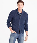 Men's J.Crew elbow patched cotton Mariner shawl-collar cardigan in blue-L/XL