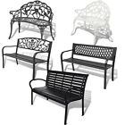 Metal Garden Bench Seat Outdoor Seating Decorative Cast Iron Park Patio Lounger