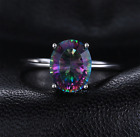 Solid 925 Sterling Silver Mystic Rainbow Fire Topaz Ring Sizes 6-9 USA Seller