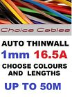 1.0MM AUTO CABLE, 12/24V THINWALL GREY TRACER STRIPED CAR BOAT WIRE 16.5 AMP