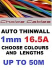 1.0MM AUTO CABLE, 12/24V THINWALL GREEN TRACER STRIPED CAR BOAT WIRE 16.5 AMP