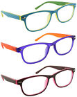3 PACK READING GLASSES WOMENS TRENDY COLORFUL SPRING HINGES 61