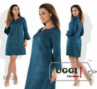 Elegant Woman Shift Dress Jacquard fabric Bell Sleeve Above Knee- Plus size