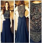 Luxury Crystal Long Evening Dresses Chiffon Formal Party Gowns US SIZE 2 4 6 +++