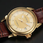 Classic Business Dress Mens Auto Mechanical Wrist Watch Vintage Leather Straps