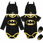 0-24M Newborn Baby Boy Batman 3Pcs Outfits Set Romper Bodysu