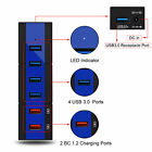 24W 6-port USB 3.0 Hub High Speed Adapter Data Cables LED Indicator For Phone PC